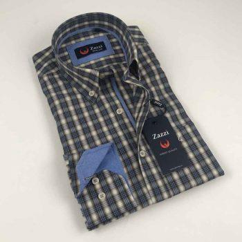 ZAZZI Check Casual Shirt Taupe